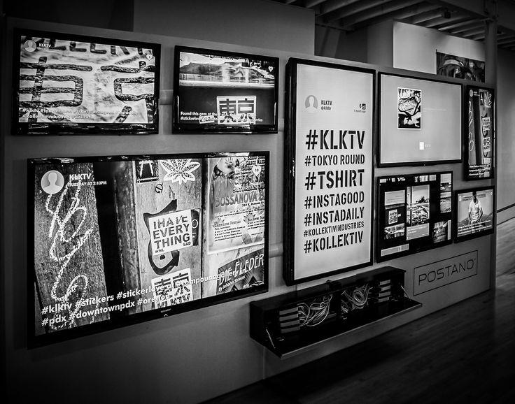 Testing the #KLKTV social media feed at #postano headquarters in downtown #pdx - Portland, Oregon.  ©Kollektiv Industries: Denim + Design Labs Black and White Photography. Rock on.