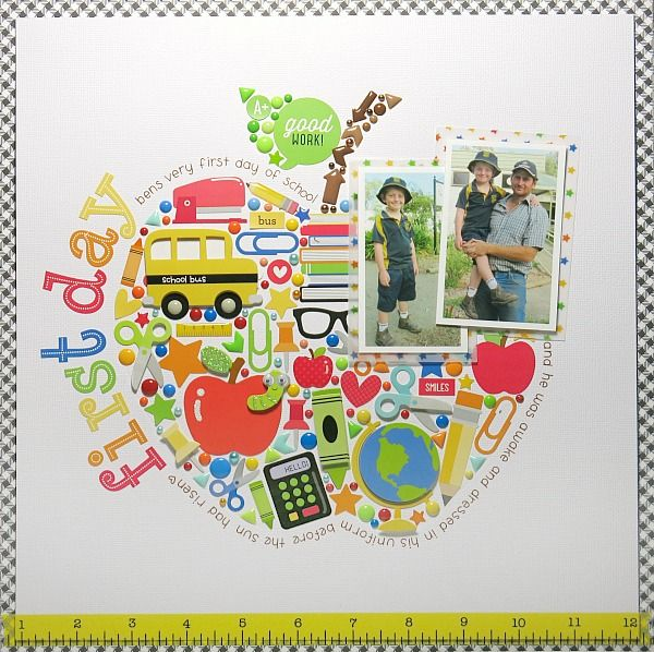First Day *Doodlebug* - Scrapbook.com - For a fun scrapbook background print journaling in a shape and then fill with small stickers and embellishments like in this back to school layout.