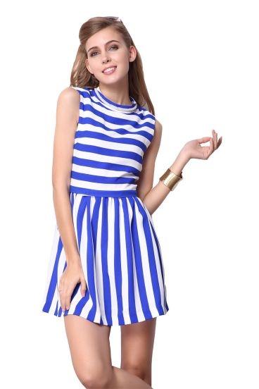 Blue White Striped Sleeveless Back Zipper Dress