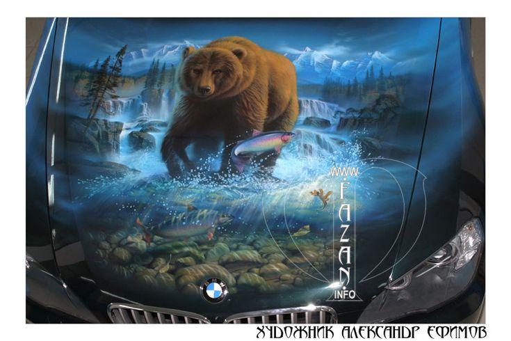 Аэрография на зеленом авто BMW X5.    #airbrush #car #auto #paint #nature #animals #bear #water #art #pro