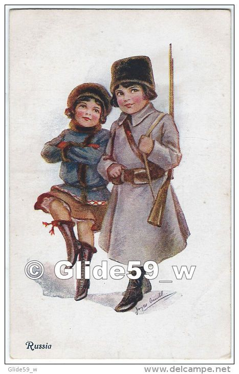 Russia (Jeune Fille Dansant Au Côté D'un Soldat Russe) (Edit. A. Vivian Mansell & Co.) (WW1)