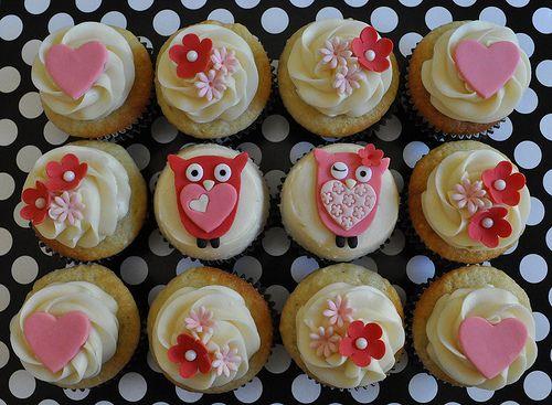 cupcakesValentine'S Day, Baby Shower Cupcakes, Cupcakes Ideas, Valentine Day, Owls Cupcakes, Flower Cupcakes, Owl Cupcakes, Valentine Cupcakes, Cupcakes Rosa-Choqu