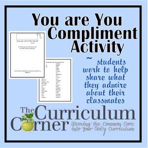 Compliment activity for the classroom - great way to team build with your students or fun end of the year activity