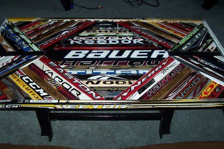 Hockey stick coffee table. Would be cool in the man cave