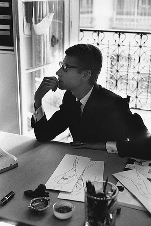 PARIS, 1964. YVES SAINT LAURENT, 28 YEARS, IN HIS OFFICE ON THE FIRST FLOOR OF THE HOTEL BY MARC RIBOUD.
