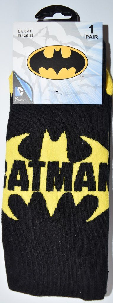 Batman Socks MENS DC Comics UK Sizes 6 - 11 (EU 39 - 46) NEW Black Yellow
