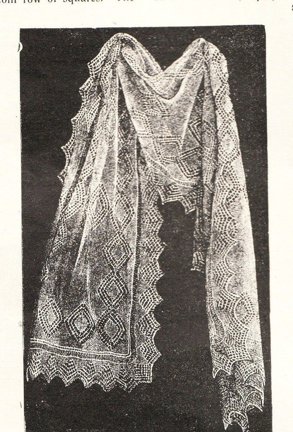 Vintage shetland lace shawl to make as a brides shoulder cover- vintage knitting pattern pdf