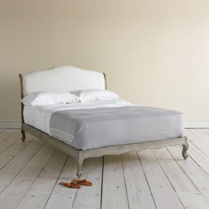 Kingsize Coco - Beautiful Weathered Oak French Beds Coco in natural cotton linen mix - Beds | Loaf