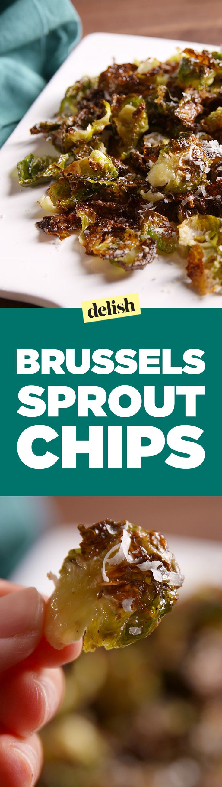 Brussels Sprout Chips will kick your potato chip cravings to the curb. Get the recipe on Delish.com.