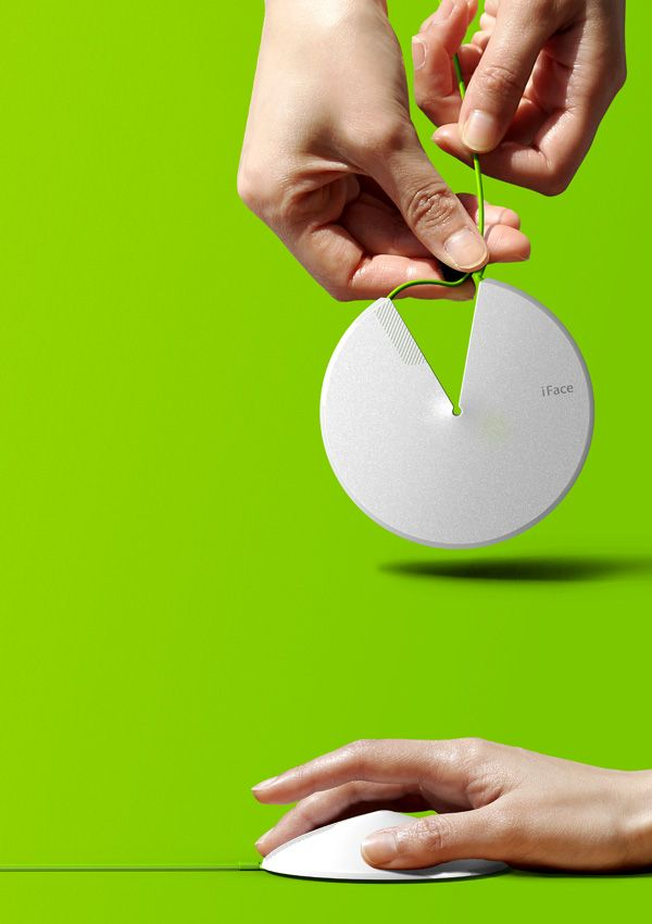 LOTO – Portable Mouse that can change from flat disc to a conical shaped mouse. #mouse #YankoDesign