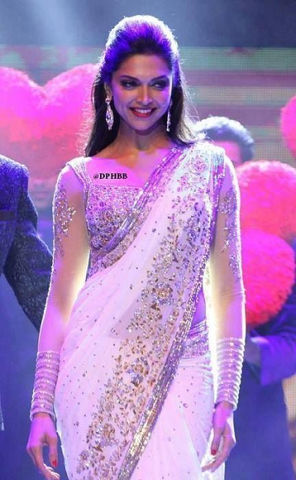 Deepika Padukone in white saree #saree #sari #blouse #indian #hp #outfit #shaadi #bridal #fashion #style #desi #designer #wedding #gorgeous #beautiful