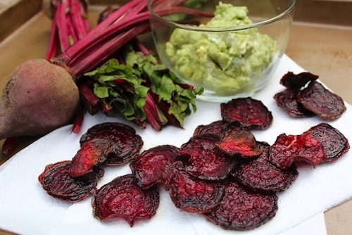 Baked Beet Chips with Avocado and Goat Cheese Dip
