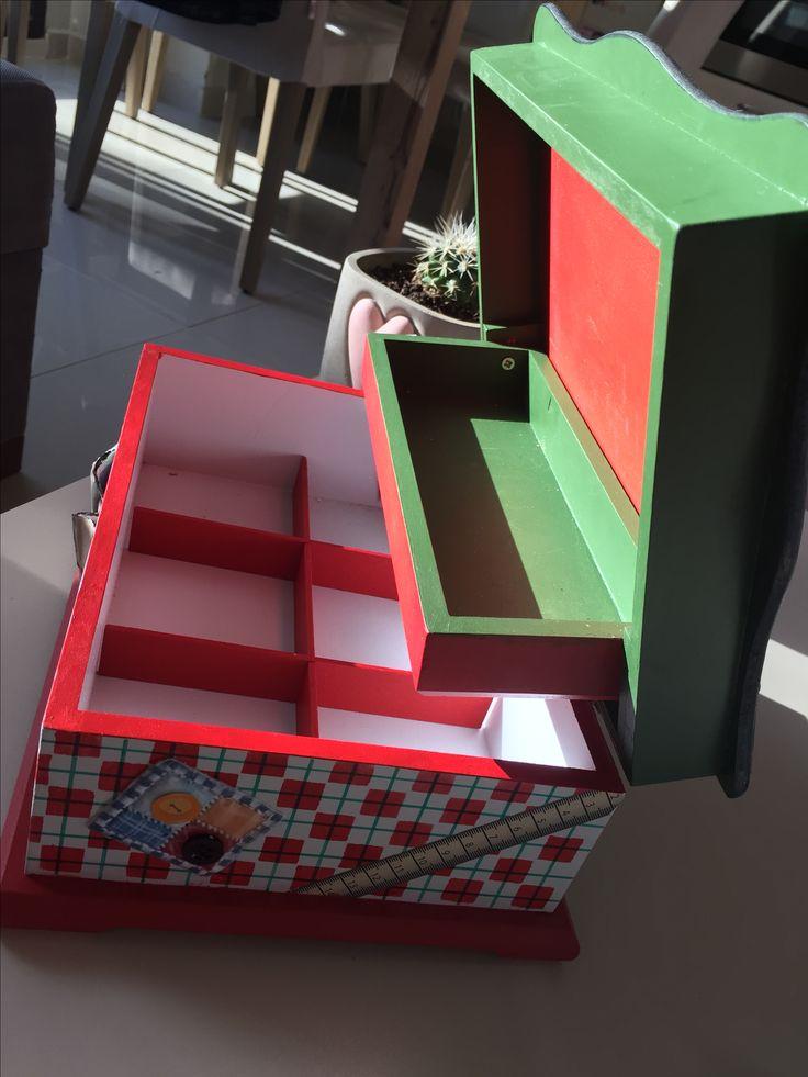 Dikiş kutusu #ekose #kırmızı #yeşil