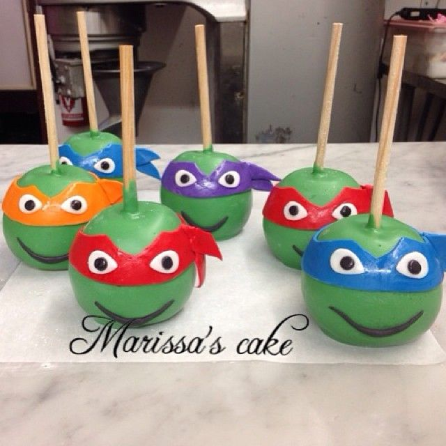 Ninja turttle Candy apples for birthday. Visit us Facebook. Com/marissa'scake.