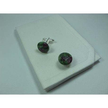 Cufflinks with rubizoisite. Nickel free steel support. Antoniano Onlus