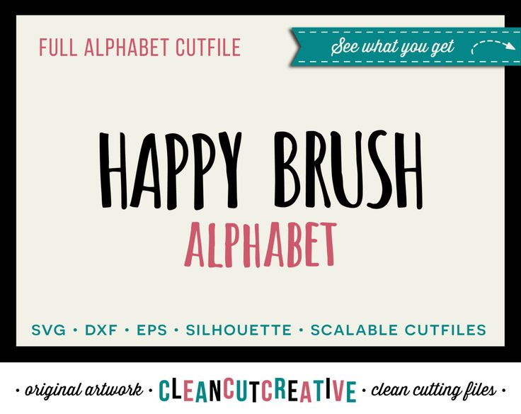 Full Alphabet Cutfile   SVG DXF EPS   for Cricut and Silhouette Cameo   Fun  Happy Brush Font   clean cutting digital files by CleanCutCreative on Etsy. 17 Best images about Alphabets Fonts SVG DXF cut files for Cricut