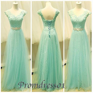 #promdress01 prom dresses - elegant open back green chiffon long prom dress for teens, custom made ball gown, evening dress
