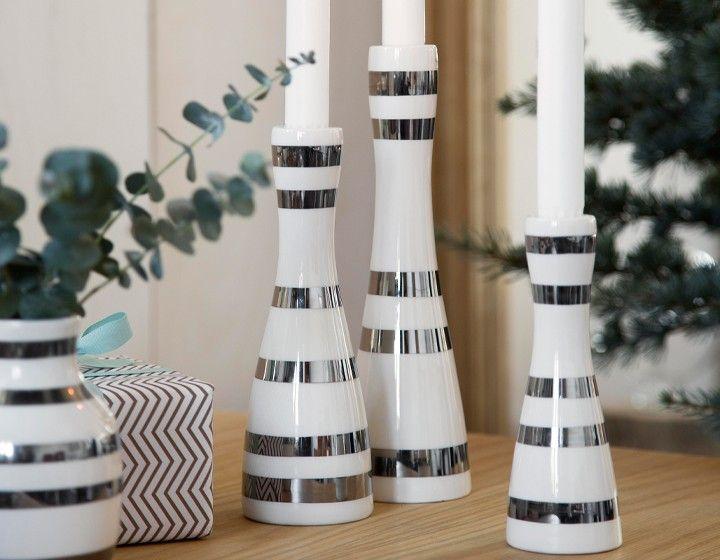 Omaggio Kerzenständer silber von Kähler Design