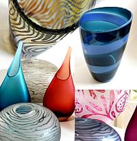 Loco Glass, guest makers at Devon Guild of Craftsmen, craft shop display August 2013