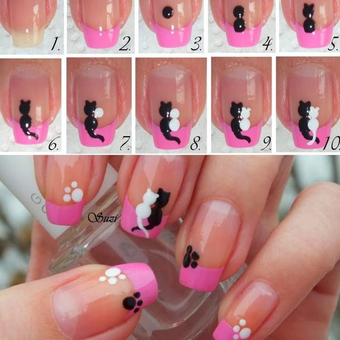 Cat nail art, i love this idea I'll have to do it but the cays in leopard print