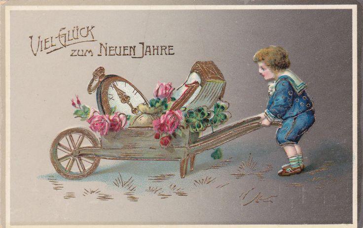 vintage Neujahrskarte Kind mit Schubkarre und Uhr von Wuenschdirwas auf DaWanda.com
