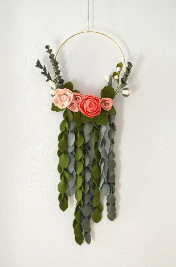Modern Felt Flower Wreath | Brass, Ranunculus, Rose, Carnation, Flower Buds, Greenery | Spring Decor | Ready To Ship