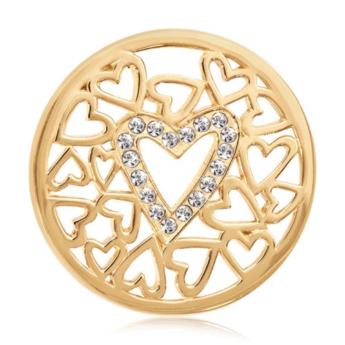Show your love with this gold heart and Swarovski accented design! #nikkilissoni #janesjewelers