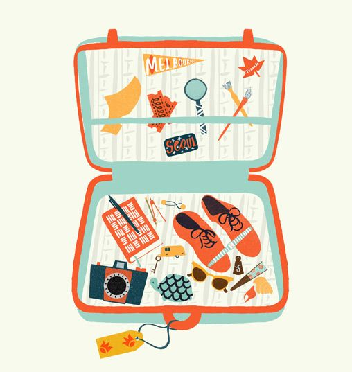 Vintage Suitcase Illustration for Uppercase Magazine, Issue 6 (2010) by Debbie Powell.