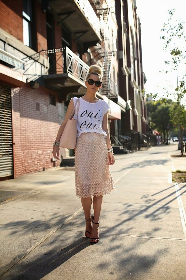 Love the pairing of this tee with a whimsical lace skirt!