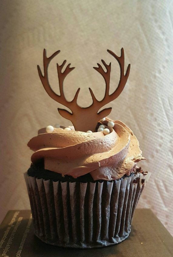 Hey, I found this really awesome Etsy listing at https://www.etsy.com/listing/270093621/wooden-deer-cupcake-topper-deer-antlers