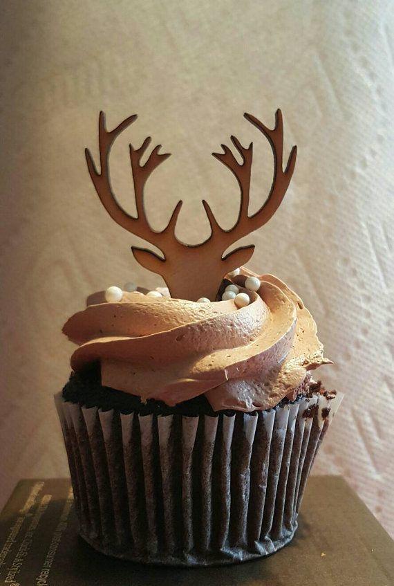 Wooden deer antlers cupcake topper / Décoration gâteau pâtisserie en bois: bois de cerf