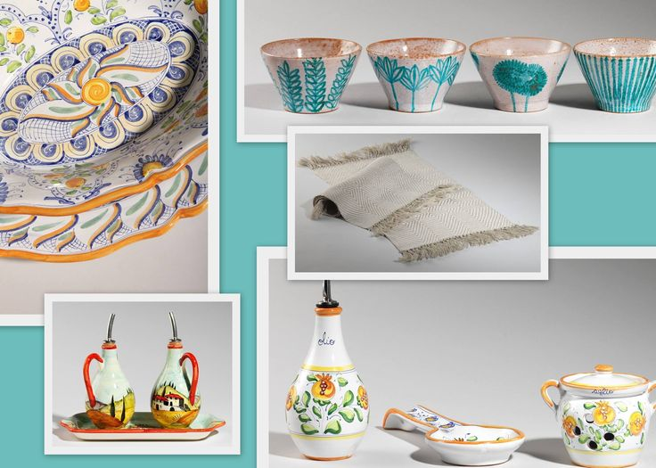 Set your table with hand-loomed placemates and hand-decorated ceramics. http://www.artshoptuscany.com/
