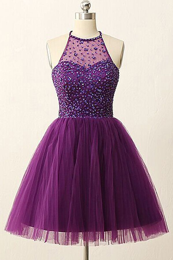 A-line homecoming dresse, purple homecoming dresses, beaded homecoming dresses, backless homecoming dresses, short prom dresses, tulle homecoming dresses, party gowns, formal dresses#SIMIBridal #homecomingdresses