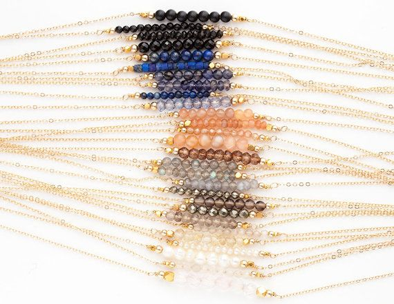 Remplir Short Pierre Bar colliers délicats 14k or, Or Rose remplissage ou Sterling collier de pierres précieuses argent / délicat Bar LN601 couches et Long