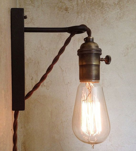 Hanging Pendant Wall Sconce. Retro Edison by IroncladIndustrial, $79.00  Good for reclaimed wood headboard - Best 25+ Plug In Wall Sconce Ideas On Pinterest Plug In