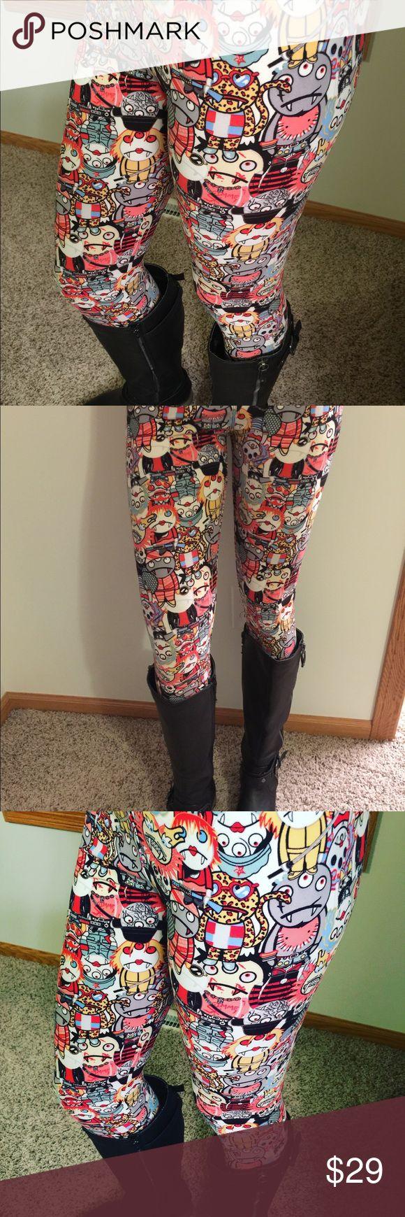 MONSTER MASH ZOMBIE VAMPIRE SKULLS LEGGINGS  TC New leggings monsters size TC Pants Leggings