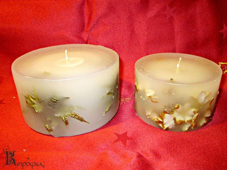 Μπεζ χειροποίητα κεριά με άρωμα αχλάδι