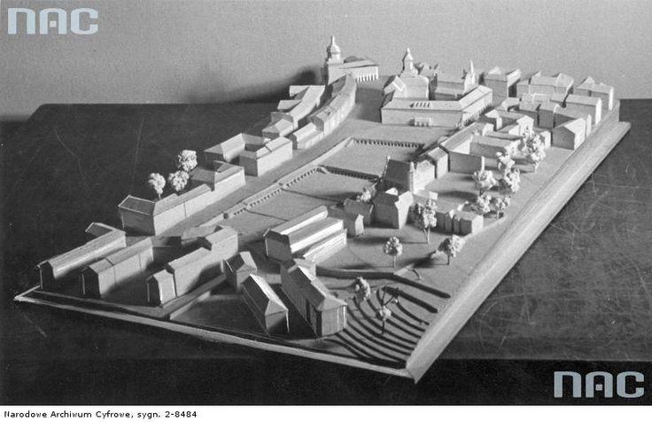 """1941r. niemiecka """"makieta przebudowy starego rynku"""", rzut wyglada na plac za magistratem, od strony pln, wyglada na to ze planowano rozbudowe zburzonego ratusza źródło; Jerzy Poniemirski"""