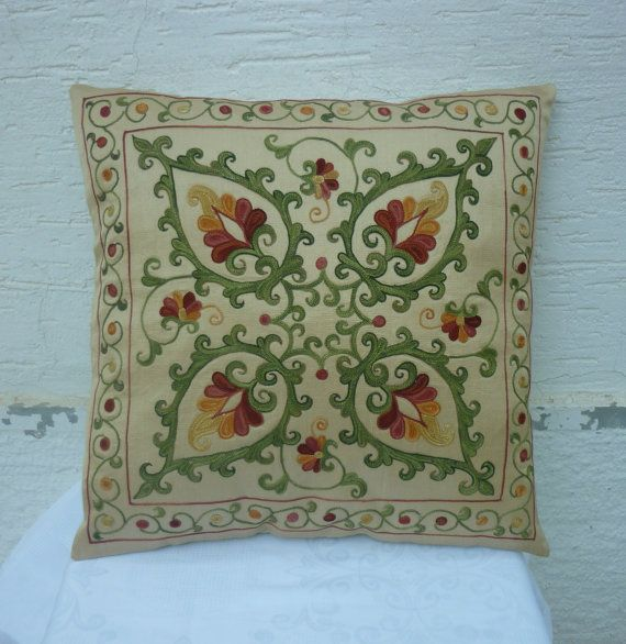 HANDWOVEN Embroidered Silk Suzani Pillow Cover by pillowsstore