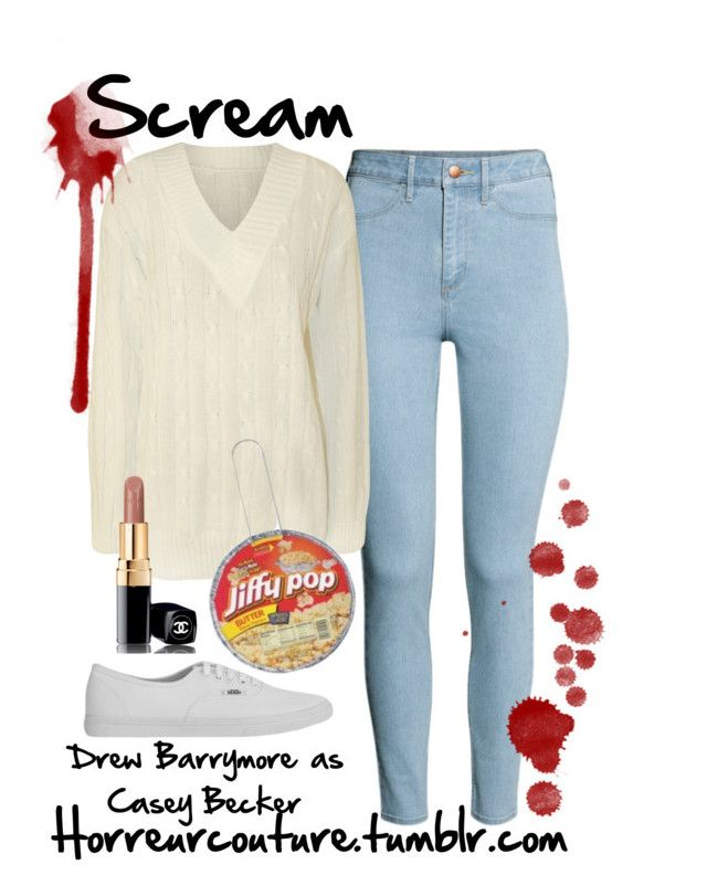 """""""Inspired by Drew Barrymore as Casey Becker in Scream"""" by withfashionandblood ❤ liked on Polyvore featuring H&M, WearAll, Vans and Chanel"""