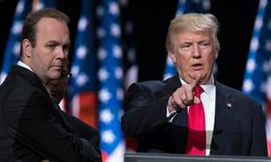 Rick Gates, left, accompanies Donald Trump as he prepares for his speech at the Republican national convention in Cleveland on 21 July 2016.