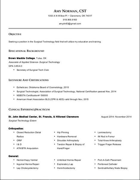 resume for surgical technologist