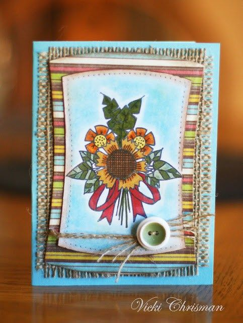 Sunflower Card by Vicki Chrisman featuring stamps by Tammy Tutterow for Spellbinders.   | www.tammytutterow.com