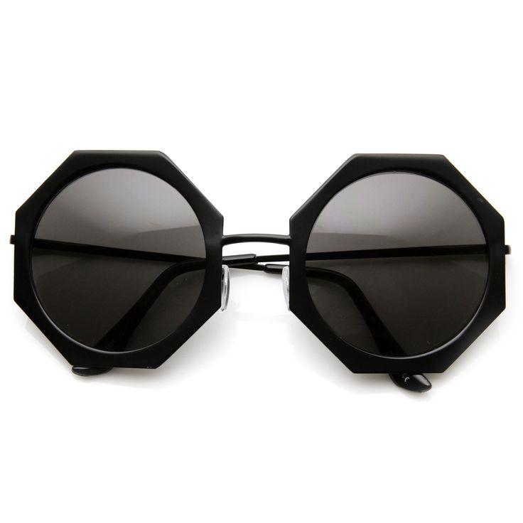 Womens Oversize Metal Geometric Octagon Round Sunglasses 9316