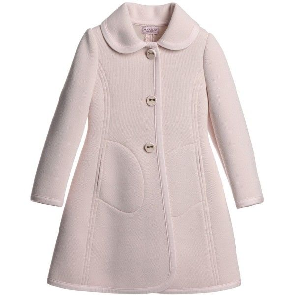 Monnalisa Girls Pink Classic Coat (4.060 ARS) ❤ liked on Polyvore featuring baby, baby girl and coats