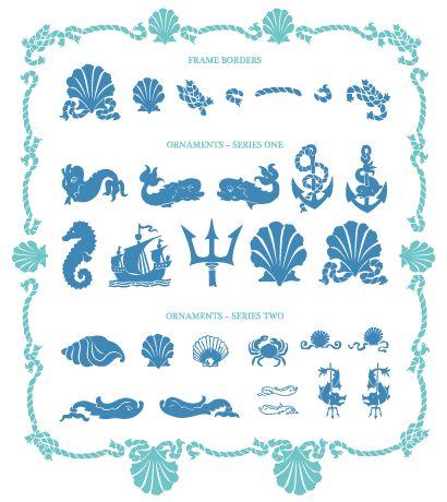 海デザインパーツ,飾り罫・フレーム ベクターイラスト素材