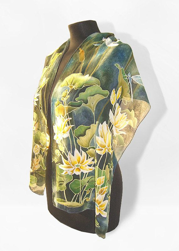 silk scarf - Waterlily & Dragonfly - hand painted scarves - green blue gold flowers - Ofelia