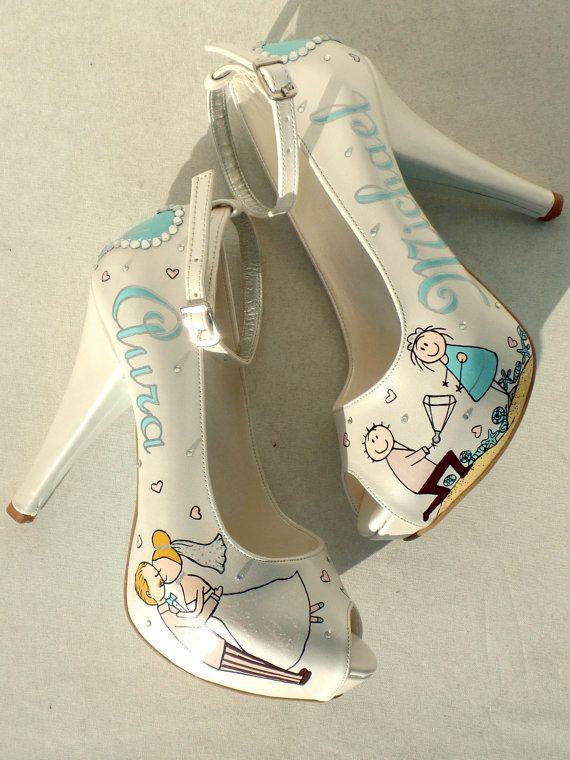 Wedding Shoes  Handpainted Customized   Aqua by KUKLAfashiondesign