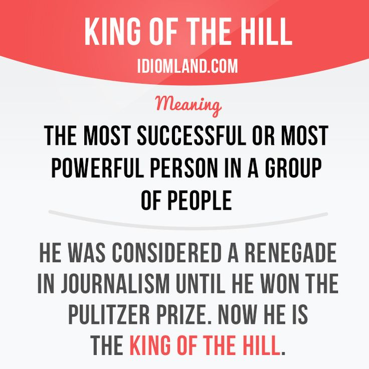 """King of the hill"" is the most successful or most powerful person in a group of…"
