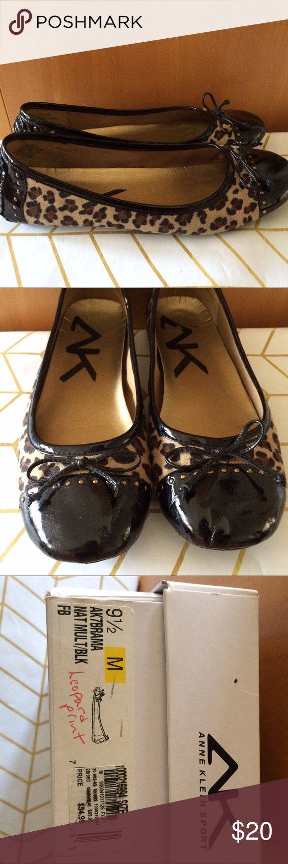Anne Klein Leopard Flat, 9.5M Anne Klein Leopard Ballet Flat, 9.5M. Black patent leather, bow front and gold round stud detailing. Some creasing to front, pictured. Ships with box. Worn just a few times. Anne Klein Shoes Flats & Loafers